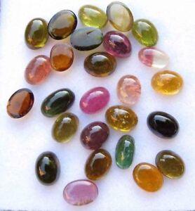 100-Natural-Multi-Color-Tourmaline-Oval-Cabochon-Loose-Gemstone