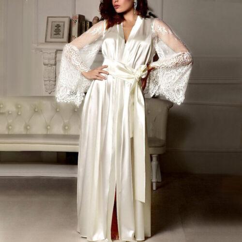 Women Satin Babydoll Long Nightdress Silk Lace Lingerie Nightgown Sleepwear Robe