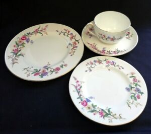 VTG Wedgwood Cup, Saucer & Two Plates Devon Sprays Pattern   FREE Delivery UK*