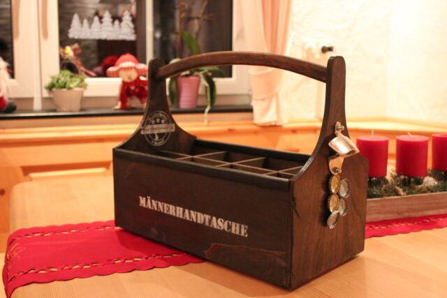 Flaschenträger mit Magnet Holz Bierträger Kiste Geburtstag Geschenk Flaschenkorb