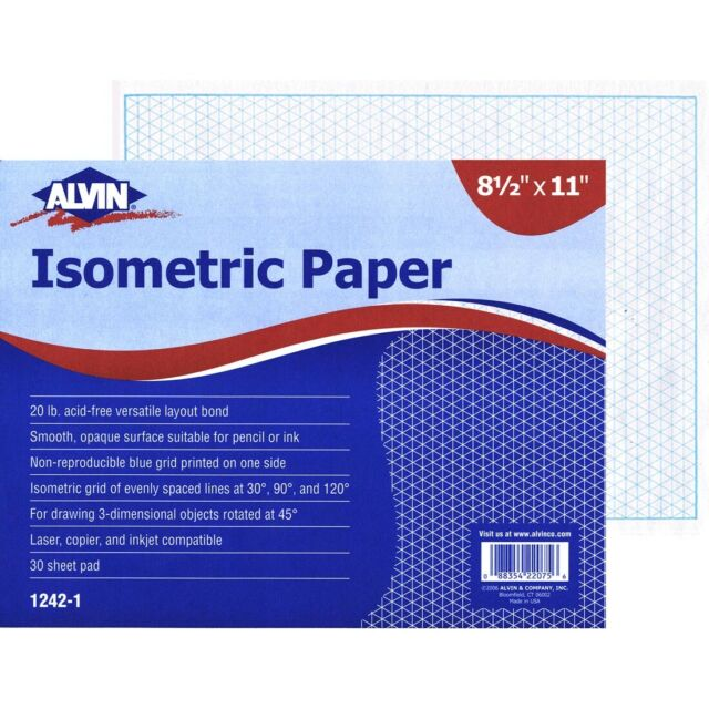 Alvin Isometric Sketch Paper 20 lb Non-Photo Blue Grid Pack... 8-1//2 X 11 in