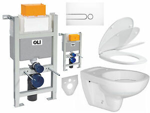 wc vorwandelement komplettset set oli kurze bh 82 pl wei wand wc wc sitz ebay. Black Bedroom Furniture Sets. Home Design Ideas