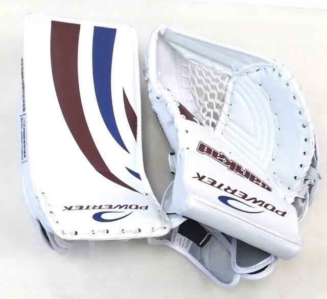 23cd5c9dd79 New Powertek Barikad Jr catch blocker glove blue purple junior ice hockey  goalie