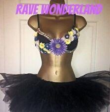 Purple Rhinestone Daisy Rave Bra & Black Tutu Full Outfit Costume