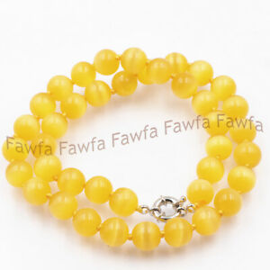 8mm 14/'/' AAA Mexican Yellow Opal Gem Round Loose Bead