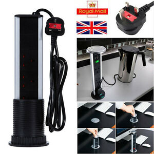 Pull Pop Up Electrical Uk Plug Socket 2 Usb Kitchen Desk Worktop