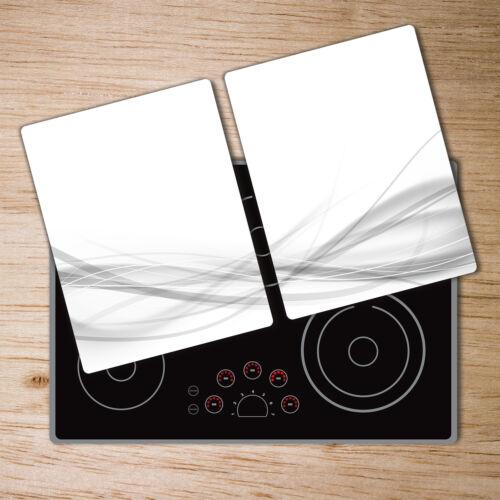 Glas-Herdabdeckplatte Ceranfeldabdeckung 2x40x52 Zweiteilig Wellen Abstrakt