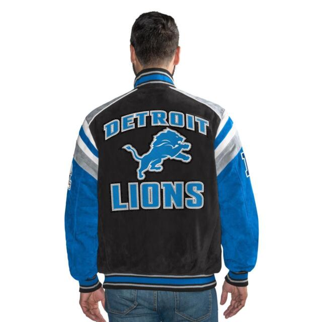 G-III Officially Licensed NFL Detroit Lions Varsity Suede Leather Jacket  LARGE 8ceabf3ff