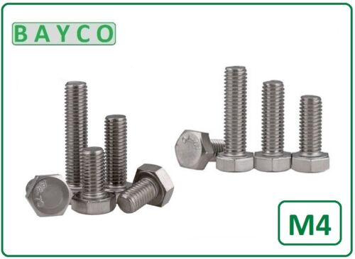 FROM 8MM TO 50MM LONG STAINLESS STEEL. HEX SETSCREW 4MM FULLY THREADED BOLT