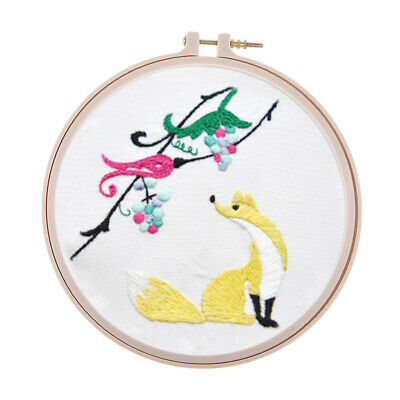 Pen Embroidery Beginners Kit with Plastic Hoop Sewing Thread /& Instructions