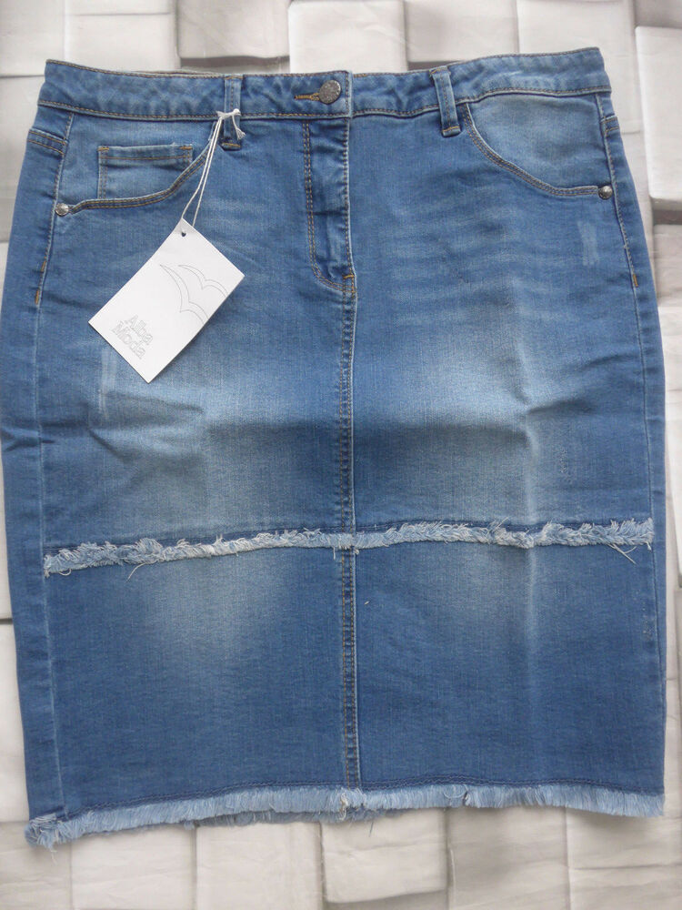 Alba Moda Jupe En Jeans Jupe Pour Bottes Gr. 38 Jusqu'à 40 Bleu (032) Neuf