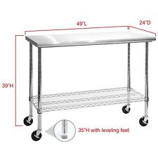 work table stainless steel top 49 heavy duty rolling adjustable