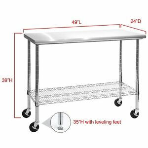 Rolling Stainless Steel Top Kitchen Work Table Cart Casters - Stainless steel kitchen work table cart