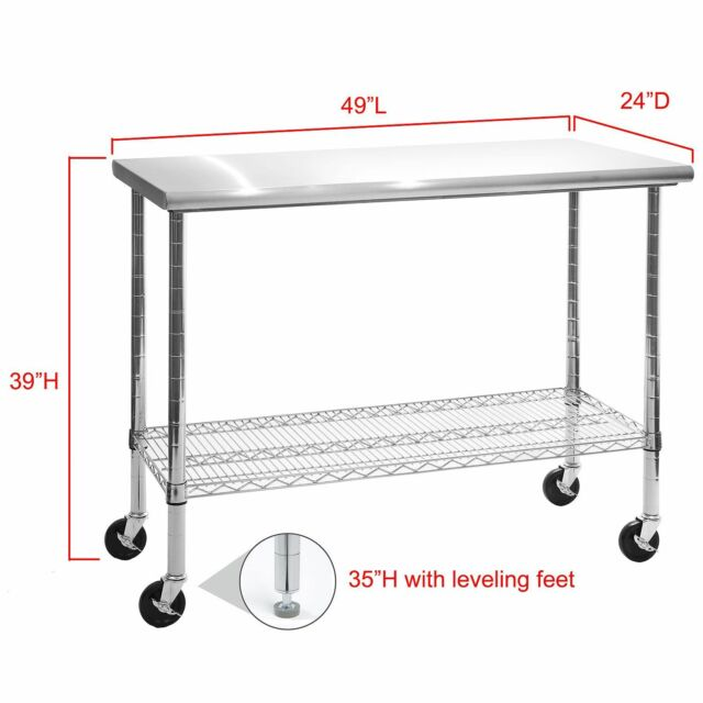 Rolling Stainless Steel Top Kitchen Work Table Cart Casters Shelving 24 X 49 For Online Ebay