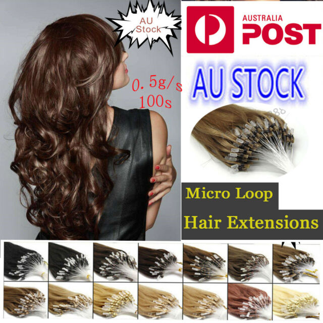 """7A 20"""" AU Stock Micro Ring Bead Loop 100% Remy Human Hair extensions 100S 0.5g/s"""