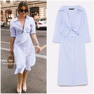 a57137b1c219 Details about NWT ZARA SS18 BLUE WHITE STRIPED DRESS WITH KNOTTED DETAIL  4043 089 XS S M L XL