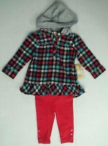 Ocean-Pacific-Baby-girls-plaid-tunic-hoodie-pant-set-long-sleeve-hooded-12M