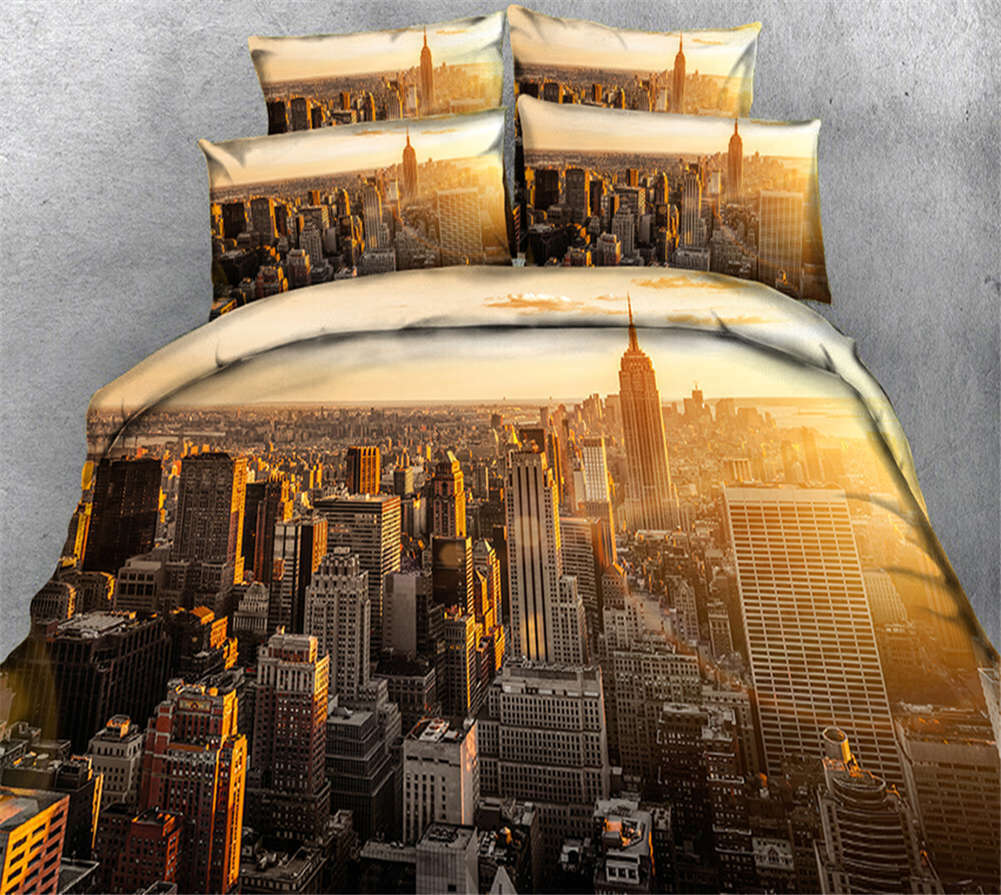 Gorgeous City Light 3D Printing Duvet Quilt Doona Covers Pillow Case Bedding Set
