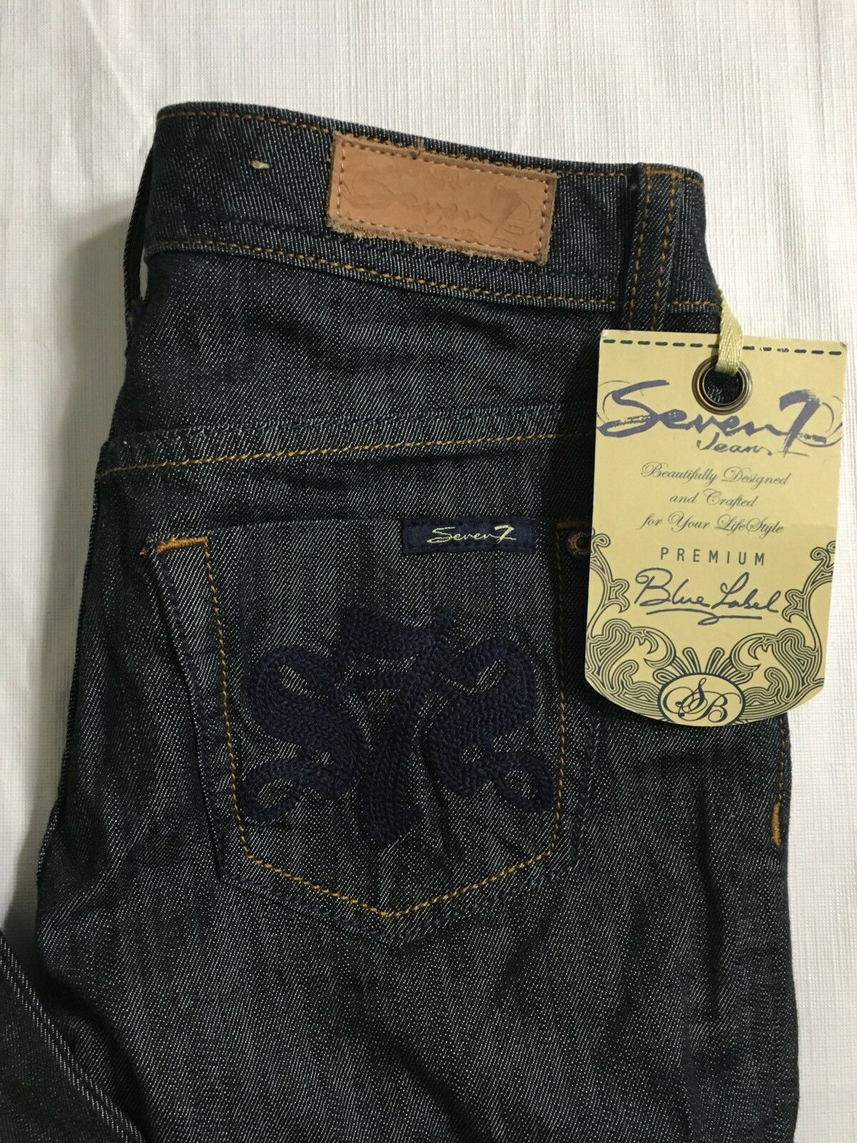 Seven 7 Jeans Size 25 x 34 Wide Leg Flare Dark Wash Stretch Denim NWT