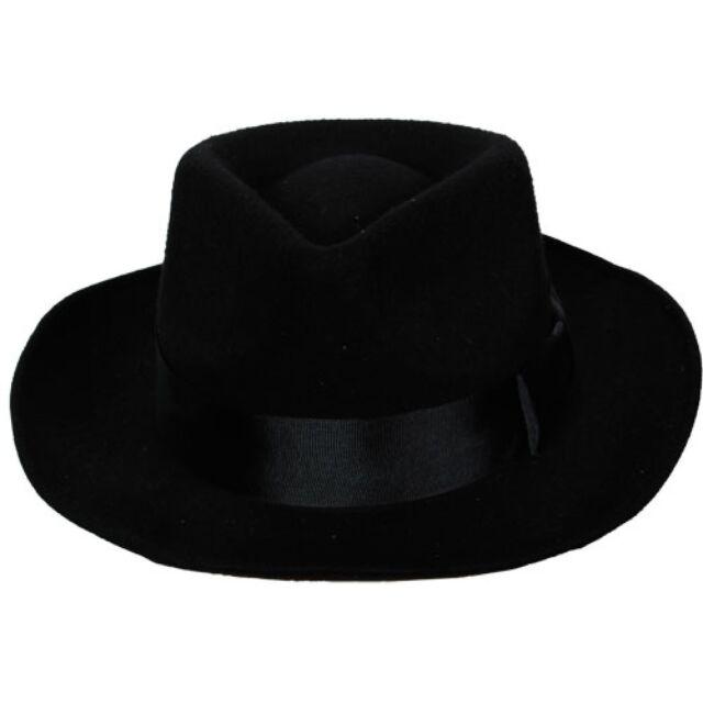 Black Gangster Hat Felt Trilby Fedora 1920s Al Capone Adult Fancy Dress Mafia