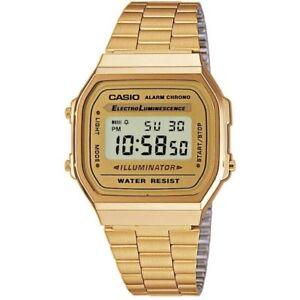 4a56614a36ac Casio A168WG-9 Retro Gold Stainless Steel Illuminator Unisex Watch A ...