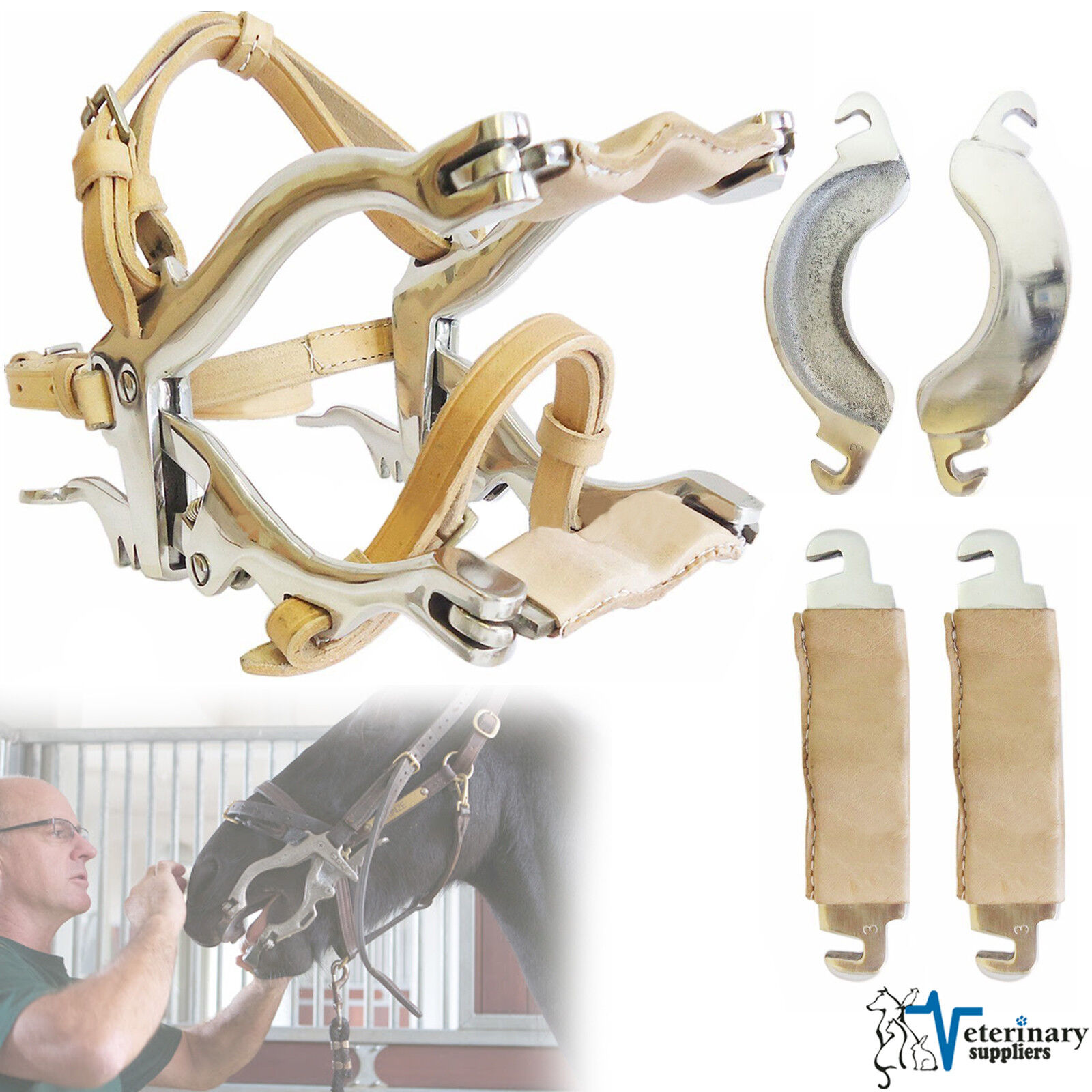 ENQUINE Dental Speculum HORSE MOUTH GAG w 4 PLATES Authentic BrOwn LEATHER STRAP