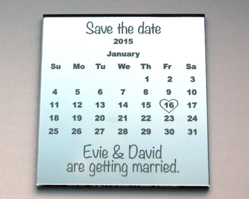 Save the Date Wedding Fridge Magnets in Mirror Personalised Invitation