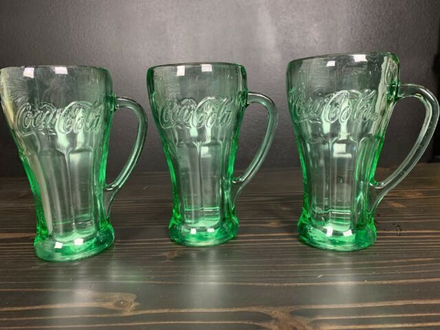 Coca Cola Coke Clear Glass Mug With Handle Drinkware Set Of 3 Advertising Collectibles