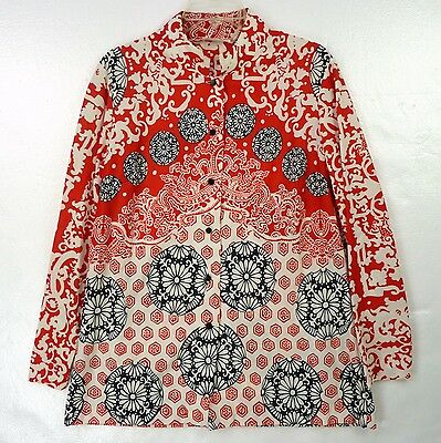 Vintage 60s Sears Asian-Inspired Floral Graphics Oriental Mandarin Bloiuse XL