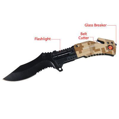 "8"" Marine Tactical Survival LED Flashlight Spring Assisted Folding Pocket Knife"