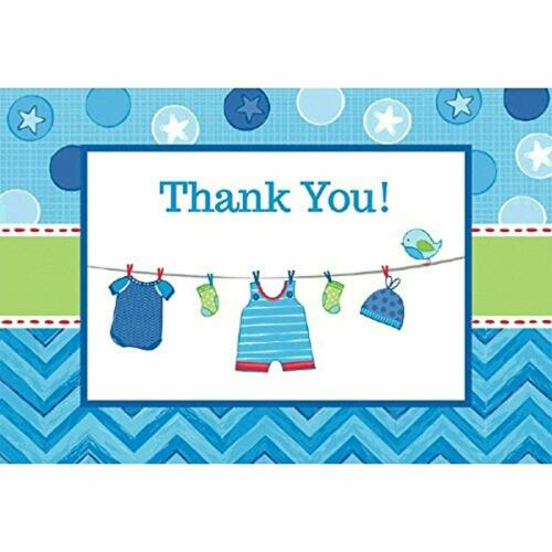 Shower With Love Boy Chevron Polka Dot Baby Shower Party Thank You Notes Cards