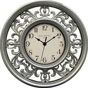 Wall-Clock-Filigree-French-Antique-Style-Edwardian-Silver-Kitchen-Home-Decor-New
