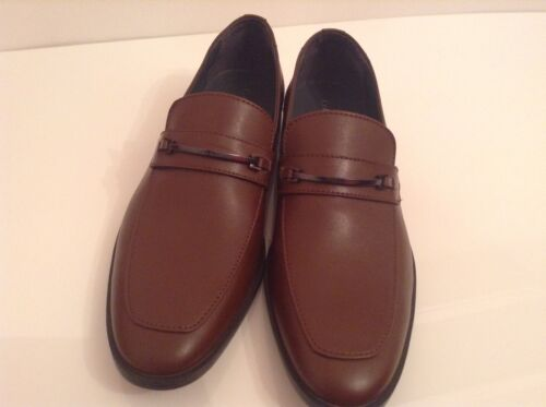Calvin con scarpe Bnwtb logo 10 Uk da marrone eleganti 100 Klein pelle in Auth uomo PqTTwE4