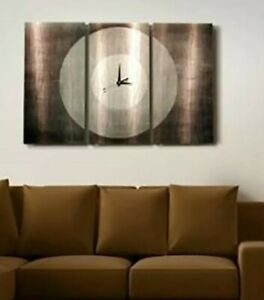 Large-Modern-Metal-Wall-Art-Clock-3-Panels-Grey-Contemporary-Decor-Jon-Allen
