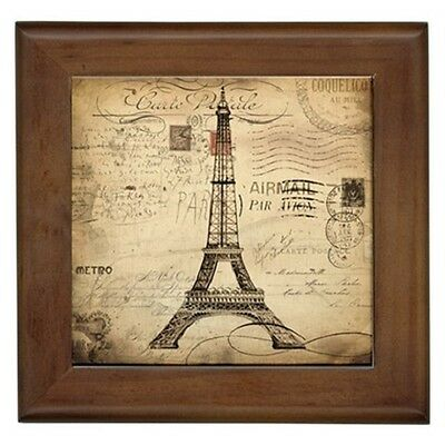 VINTAGE PARIS FRENCH THEME FRAMED TILE HOME DECOR CERAMIC WALL ART PRINT