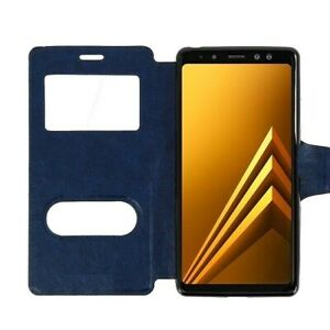 BRAND-NEW-Navy-Leather-Magnetic-Double-Window-Book-Case-Cover-for-Samsung-Galaxy