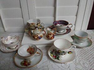 Lot-of-6-Tea-Cup-amp-Saucer-sets-1-Creamer-amp-Sugar-Set-Fruit-Design-Used