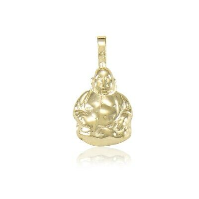 10K Solid Yellow White Gold Buddha Pendant Religious Necklace Charm Men Women