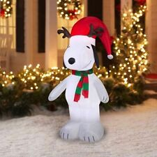 Snoopy with Antlers Santa Hat Christmas Gemmy Airblown Inflatable Yard Decor