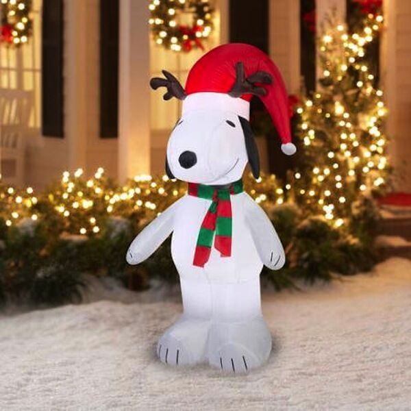 snoopy with antlers santa hat christmas gemmy airblown inflatable yard decor ebay - Christmas Airblown Inflatables