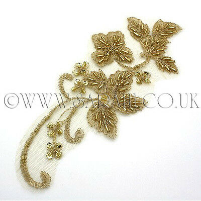 GOLD NET APPLIQUE GOLD BEADED APPLIQUE,MOTIF, edging,trim,sequins,beads