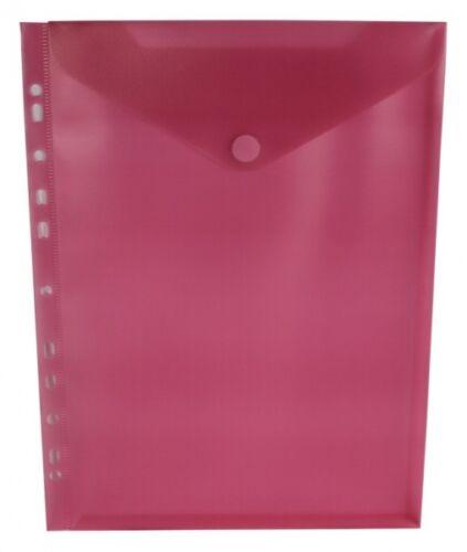 10x Dokumententaschen Umschläge Klettverschluss Abheftrand A4 rot transparent