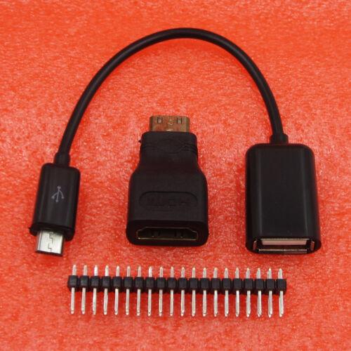 3 in 1 Raspberry Pi Zero Kit Mini HDMI to HDMI Adapter Micro USB+GPIO Header