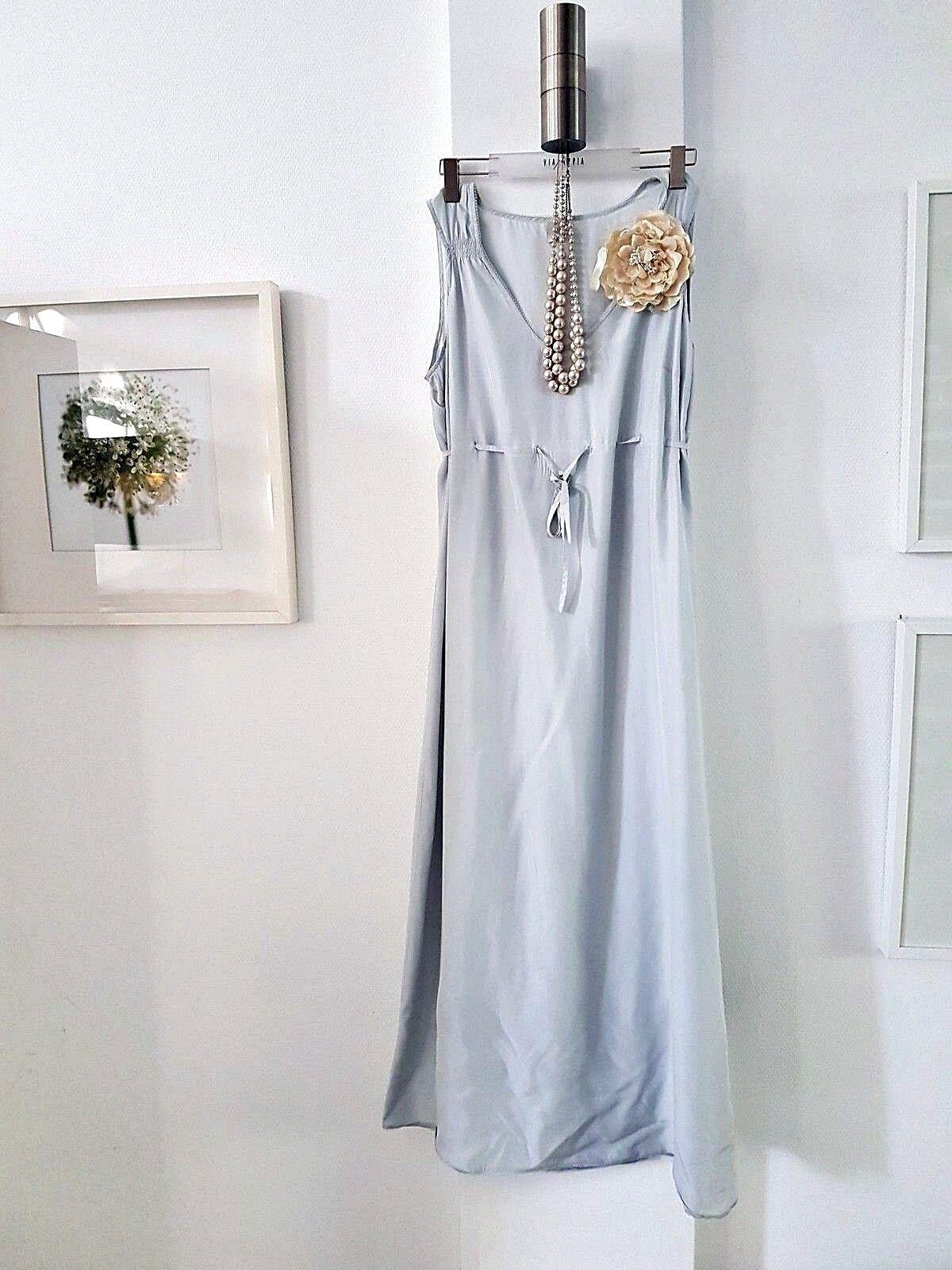 NOA NOA  langes romantisches Kleid in sehr hellen Blau 100% Seide Gr. XXL   G68