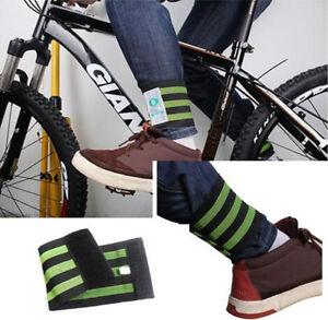 Bike Bicycle Reflective Ankle Leg Bind Wrist Safety Band Pants Clip Strap Belt