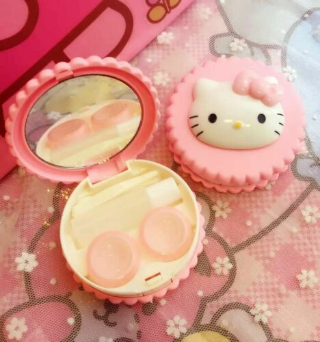 d Pink Hello Kitty Contact Lenses Box With Tweezers Mirror Bottle Rod New 7.5cm