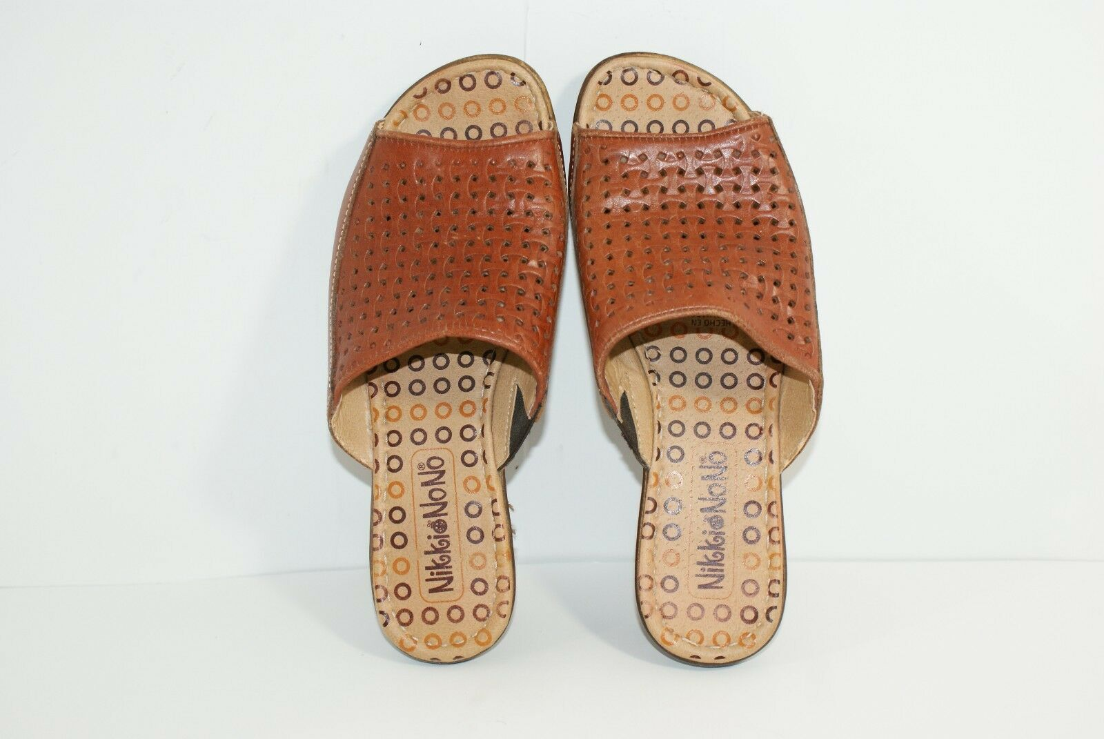 Nikki Nono Perforated Women's Leather Slip On Mules Women's Perforated 7.5 Open Toe Brown Shoes ef3b17