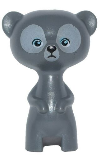 ☀️NEW Lego Friends Animal Pet Gray Fur Bear Cub Standing Azure Eyes Black Nose