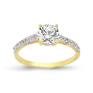 9ct Gold Ladies Single Cz Solitaire Engagement Ring Cubic Zirconia