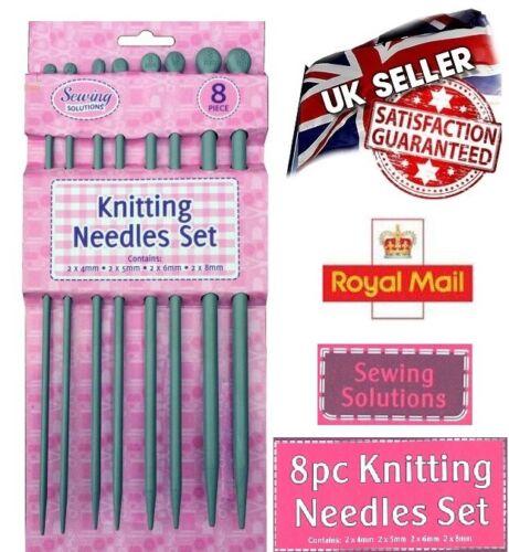 8mm UK 5mm 8pcs Quality Plastic Knitting Needles Craft Set 25cm x 4mm 6mm